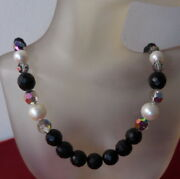 1950 Vintage Jewelry Onyx Stone Faux Pearl Carnival Crystal Glass Beads Necklace