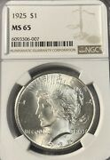 1925 Ngc Ms65 Peace Silver Dollar