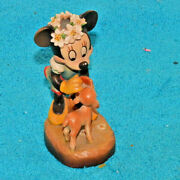 Vintage Rare Anri Walt Disney Minnie Mouse With Deer Made In Italy