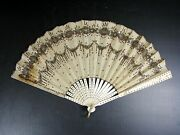 Elegant Antique 19 Thc French Hand Fan Lace And Bone Signed Ernest Kees