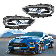 For 2018-2020 Ford Mustang Full Led Headlights Drl/turn Amber Side Reflector