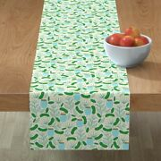Table Runner Dill Pickle Summer Kitchen Decor Food Floral Flower Cotton Sateen