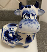 New Russian Gzhel Cow Porcelain Figurine Hand Made Painted