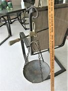 Antique Cast Iron Hanging Balance Beam Scale Hand Made/1944 -unique Collectible