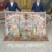 Yilong 6and039x4.5and039 Hand Knotted Tapestry Silk Rugs House Handmade Carpet 660a