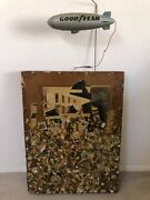 🔥 Antique Mid Century Modern Abstract Brutalist Painting Sculpture Signed