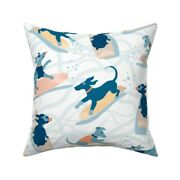 Dog Surfing Blue Orange Having Throw Pillow Cover W Optional Insert By Roostery