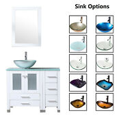 36 Bathroom Vanity Cabinet And Tempered Glass Vessel Sink Bowl Faucet White Wood
