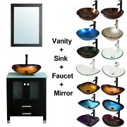24 Bathroom Vanity Cabinet And Tempered Glass Vessel Sink Bowl + Faucet /drain