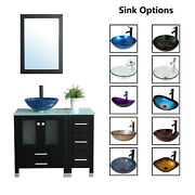 36 Bathroom Vanity Cabinet And Tempered Glass Vessel Sink Bowl Faucet Drain Combo