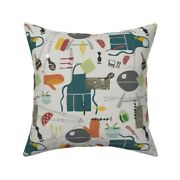 Summer Bbq Kitchen Decor Throw Pillow Cover W Optional Insert By Roostery