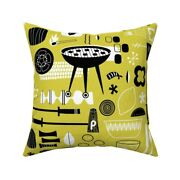 Modern Cookout Summer Bbq Throw Pillow Cover W Optional Insert By Roostery