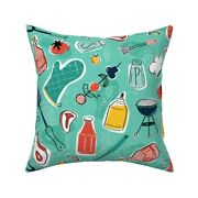 Backyard Bbq Cookout Grill Meat Throw Pillow Cover W Optional Insert By Roostery