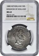 Ngc-ms63 Netherland 1808 Kingdom Of Holland 50 Stuivers Silver Coin
