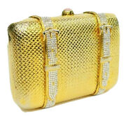 Judith Leiber Travel Suitcase Crystals Gold Minaudiere Evening Bag Vintage