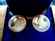1974 Cayman Islands And Turks And Caicos Islands Churchill 2 Coin Silver Proof Set