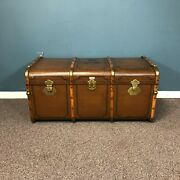 Antique German Steamer Trunk Chest Suitcase Or Coffee Table