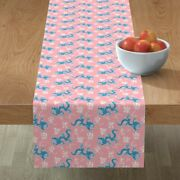 Table Runner Asian Chinese Oriental Dragon 1950s Calligraphy Cotton Sateen