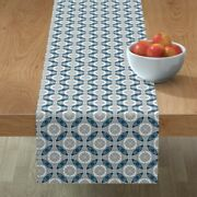 Table Runner Circle Geometry Chinese Compass Asian Oriental Cotton Sateen