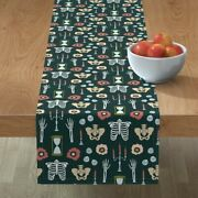 Table Runner Skeleton Bones Candles Death Afterlife Hourglass Cotton Sateen