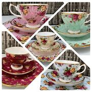 Royal Albert Old Country Roses Ruby Peach Blue Peppermint Cup Saucer Plate Trio