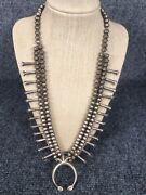 Old Pawn Native American Navajo Silver Bench Beads Naja Sand Cast Necklace