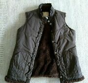 Billabong Quilted Vest Womenandrsquos Size L Brown Ruffle Fleece Lined Microfiber