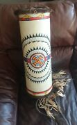 22andrdquo Tall Native American Inspired Plains Indian Painted Rawhide Parfleche