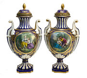 Pair Sevres France Porcelain Twin Handled Covered Urns 19th C. Courting Scenes