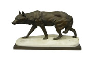 French Bronze Sculpture Wolf Stalking Footprintsandrdquo Charles Valton And Siot Foundry