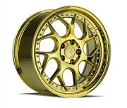 Set4 Aodhan Staggered Ds01 19x9.5/10.5 5x114.3 +15/22 Gold Vacuum Chrome Rivet