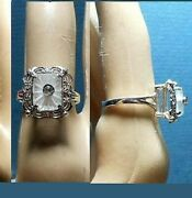 Dainty Camphor Glass Ring Marked 925 Exquisite Art Deco Ring Large Basket Prongs
