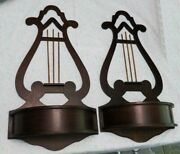 2 Antique Handsome Musical Lyre / Harp Wood Wall Pockets 18 Inches Tall Perfect