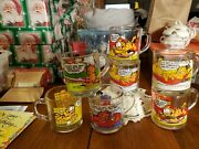 Vintage Garfield 1978, Mcdonald's Group Of Six 7 Collector Glass Mugs Very Clean