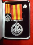 Rare Named Canadian Fire Service Exemplary Service Medal Cased With Miniature