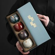 Kung Fu Kiln Baked Unique Luxury Ceramic Tea And Coffee 4 Cup Set With Lux Case