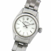 Rolex Oyster Perpetual 6623 Used Watch White Dial Bar Ss Self-winding Ladies