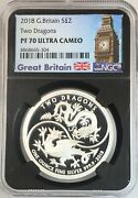 2018 Great Britain Two Dragons 1 Oz Silver 2 Pounds Ngc Pf70 Ultra Cameo Ucam