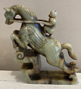 Jade Monkey On Horse On Pedestal Figurine Carving Statue 7andrdquox6andrdquo