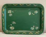 Vintage Hand Painted Green Floral Metal Tray Toleware Americana Square 17.5andrdquox12andrdquo