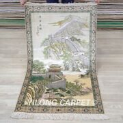 Yilong 2and039x4and039 The Great Wall Tapestry 500lines Hand Knotted Carpet Silk Rug 004h