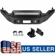 Textured Heavy Full Width Front Bumper W/ Winch Plate Lights For 13-18 Dodge Ram