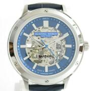 Hunting World Skeleton Watch Hw030nv Automatic Blue Ss Leather Belt New