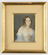 Portrait Of A Young Lady With Blue Scarf Fine Russian Miniature Ca.1840