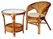 Pelangi Rattan Wicker Lounge Set Of Chair W/cushion And Round Coffee Table