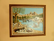 H. Hargrove Painting On Canvas Gold Mining Old West Artist Signed Serigraph