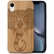 Wooden Cell Phone Case Laser Engraved Royal Elephant Head Design For Iphone-xr