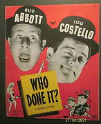 Abbott And Costello Who Done It Orig,1942 Movie Pressbook Classic