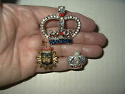 3 Vintage Silver And Gold Tone Clear-red-blue Crystal And Pearl Crown Brooch Pins