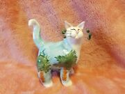 Amy Lacombe Whimsiclay Cat 2001 Annaco Creations Palm Tree Signed Retired